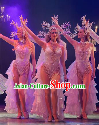Top Grade Modern Dance Stage Performance Costumes Modern Fancywork Christmas Catwalks Dress for Women