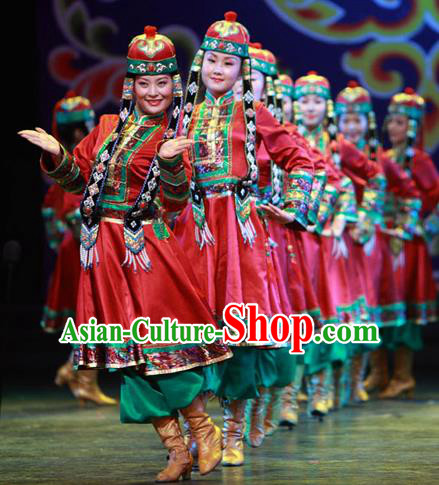 Traditional Chinese Zang Nationality Dancing Costume, Tibetan Female Folk Dance Ethnic Minority Nationality Embroidery Clothing for Women