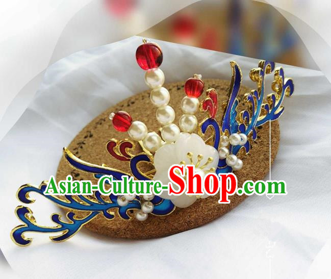 Chinese Traditional Ancient Hair Accessories Classical Blueing Hair Comb Hanfu Hairpins for Women