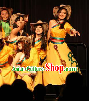 Traditional Chinese Zang Nationality Dance Costume, China Tibetan Folk Dance Classical Dance Yellow Dress for Women
