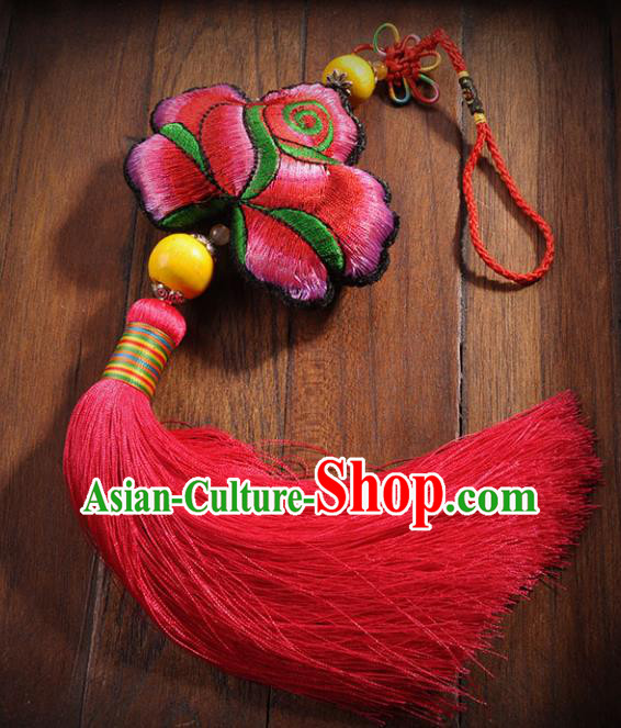 Chinese Traditional Red Tassel Embroidery Pendant Classical Handmade Embroidered Lotus Craft for Women