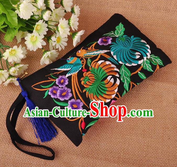 Chinese Traditional Embroidery Craft Embroidered Peony Black Purse Handmade Handbag for Women