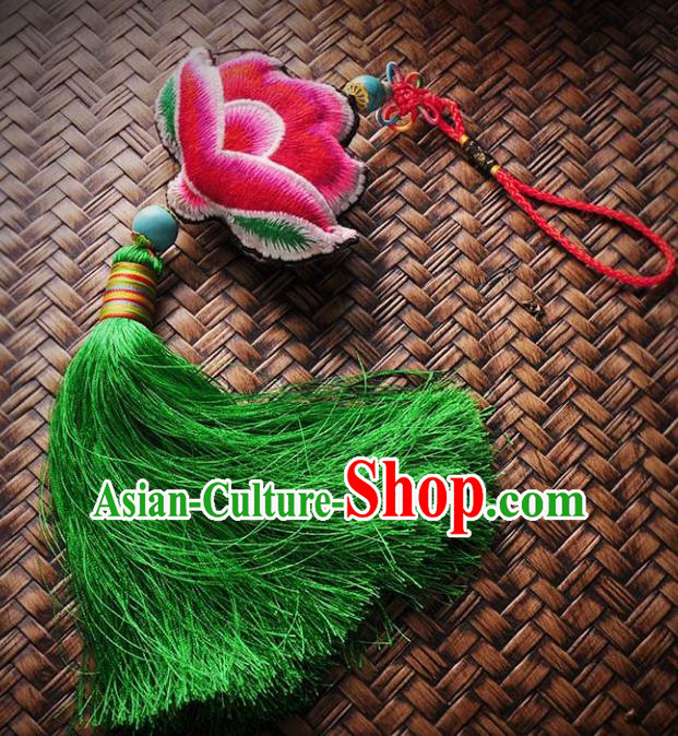 Chinese Traditional Embroidery Accessories Handmade Embroidered Red Lotus Pendant for Women