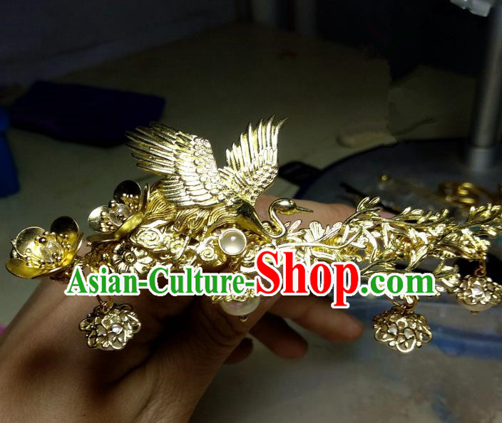 Chinese Traditional Ancient Hair Accessories Classical Brass Phoenix Hairpins Hanfu Hair Comb Headwear for Women