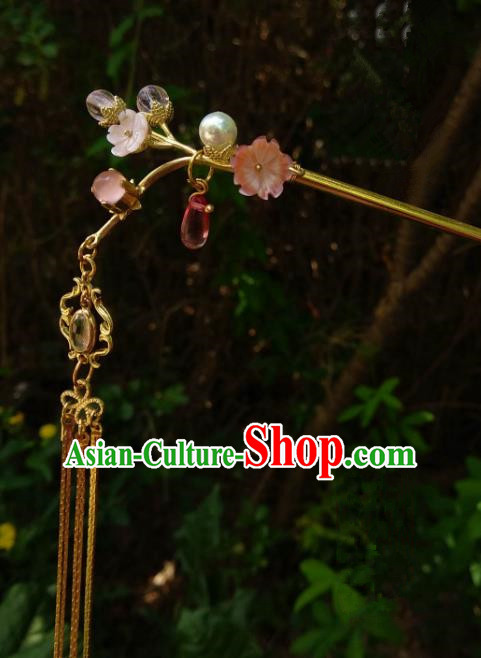 Chinese Traditional Ancient Hair Accessories Classical Brass Hairpins Hanfu Flowers Hair Clip Headwear for Women