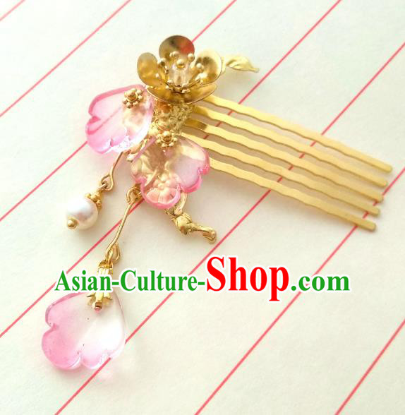 Chinese Traditional Ancient Hair Accessories Classical Hairpins Hanfu Brass Hair Comb Headwear for Women