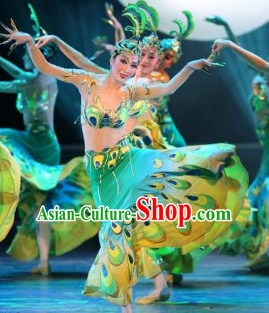 Traditional Chinese Pavane Peacock Dance Costume, China Folk Dance Classical Dance Dress for Women