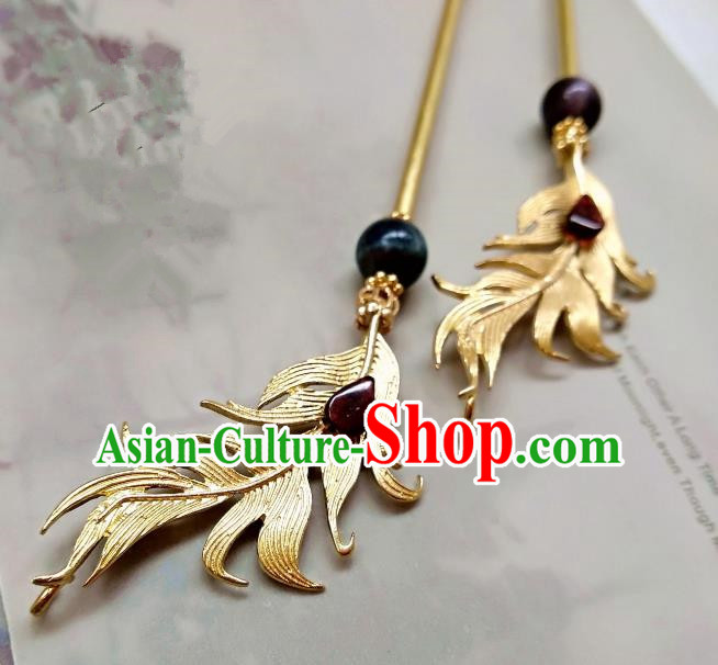Chinese Traditional Ancient Hair Accessories Classical Hairpins Hanfu Brass Feather Hair Clip Headwear for Women