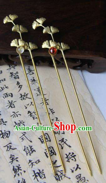 Chinese Traditional Ancient Hair Accessories Classical Hanfu Brass Ginkgo Leaf Hairpins for Women