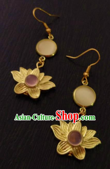 Chinese Traditional Ancient Accessories Classical Hanfu Brass Lotus Earrings for Women