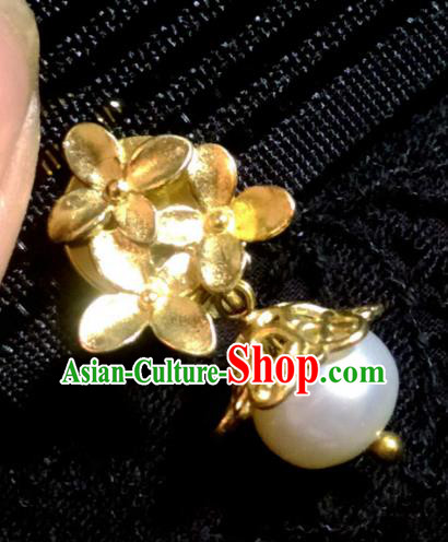 Chinese Traditional Ancient Accessories Brass Earrings Classical Hanfu Eardrop for Women