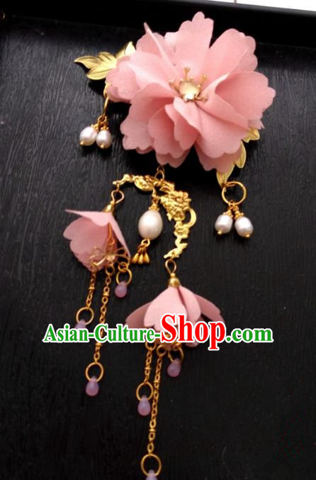 Chinese Traditional Ancient Hair Accessories Classical Pink Flowers Hair Clips Hanfu Hairpins for Women