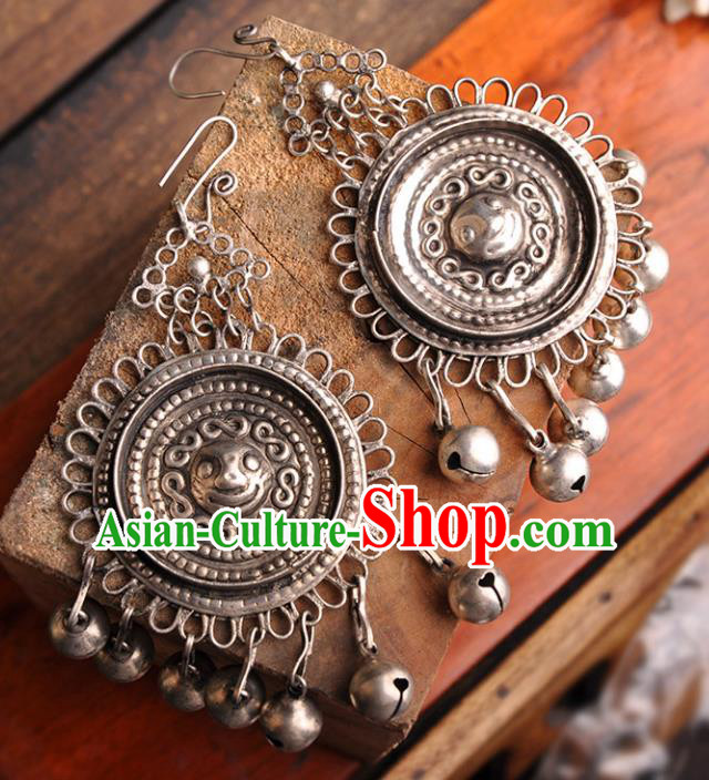 Chinese Traditional Embroidery Accessories Handmade Miao Sliver Bells Earrings for Women