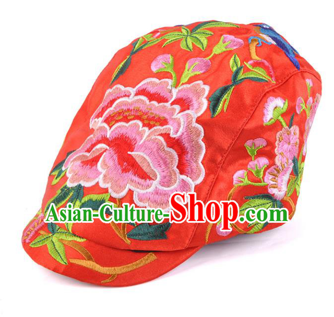 Chinese Traditional Embroidery Casquette Accessories Handmade Embroidered Peony Red Caps for Women