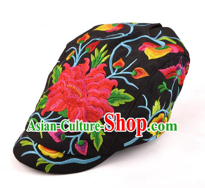 Chinese Traditional Embroidery Black Casquette Accessories Handmade Embroidered Peony Caps for Women