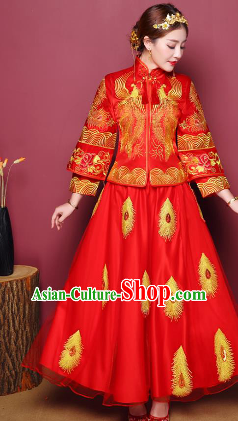 Chinese Traditional Wedding Dress Costume Red Bottom Drawer, China Ancient Bride Embroidered Phoenix Xiuhe Suit Clothing for Women