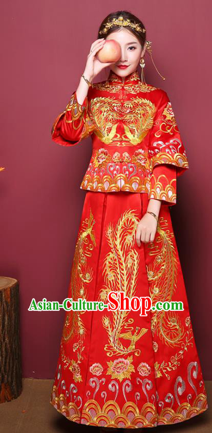 Chinese Traditional Wedding Costume, China Ancient Bride Xiuhe Suit Embroidered Dress Clothing for Women