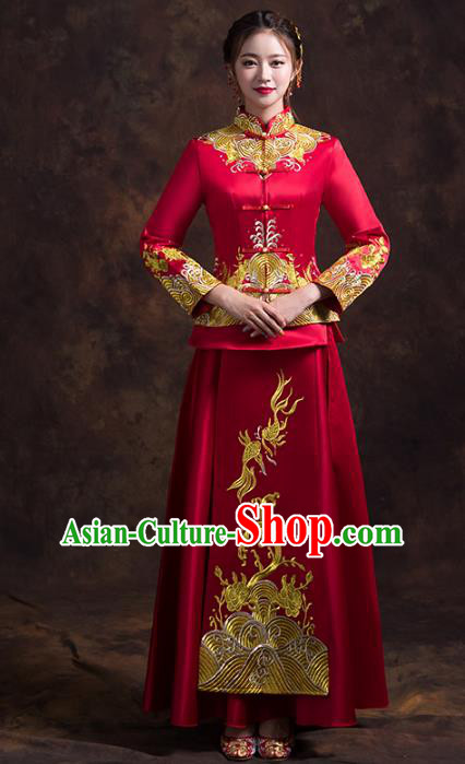 Chinese Traditional Xiuhe Suits Bride Toast Clothing Ancient Embroidery Bottom Drawer Wedding Costumes for Women