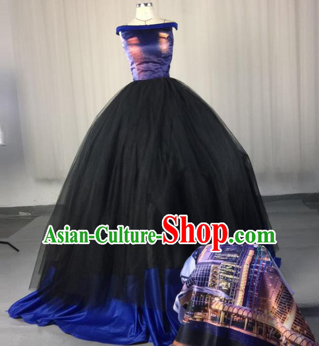 Top Grade Stage Performance Costumes Renaissance Catwalks Black Veil Full Dress Modern Fancywork Clothing for Women