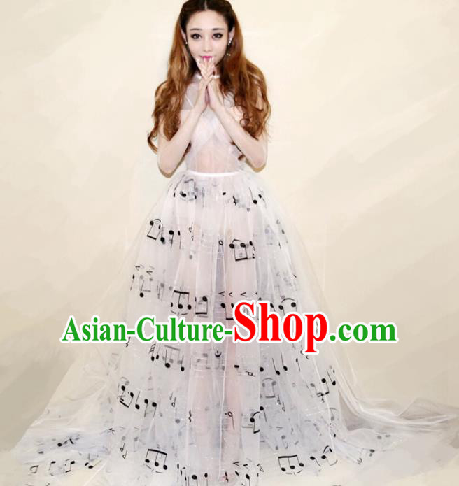 Top Grade Stage Performance Costumes Catwalks White Full Dress Modern Fancywork Clothing for Women