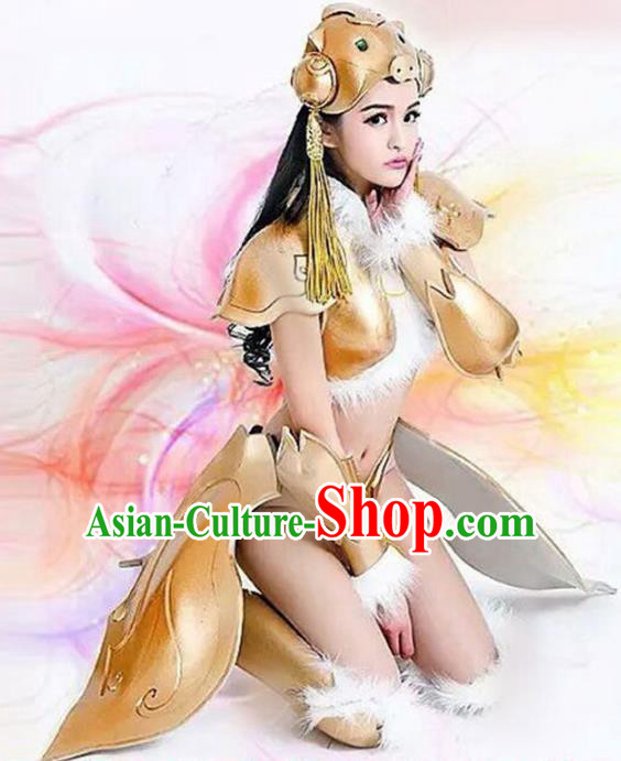 Top Grade Stage Performance Costumes Halloween Cosplay Modern Fancywork Clothing and Headwear for Women