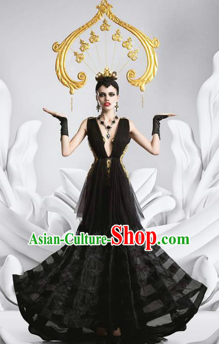 Top Grade Stage Performance Costumes Baroque Modern Fancywork Black Full Dress and Headwear for Women