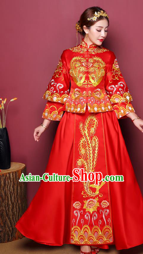 Chinese Traditional Wedding Costume, China Ancient Bride Xiuhe Suit Embroidered Phoenix Dress Clothing for Women