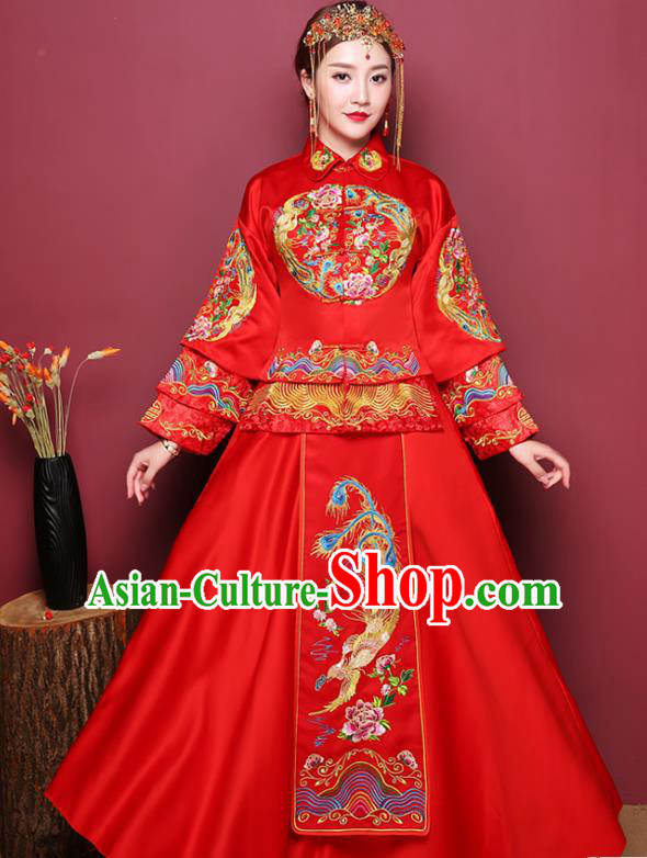 Chinese Ancient Wedding Costume Bride Red Dress, China Traditional Delicate Embroidered Phoenix Toast Clothing Xiuhe Suits for Women