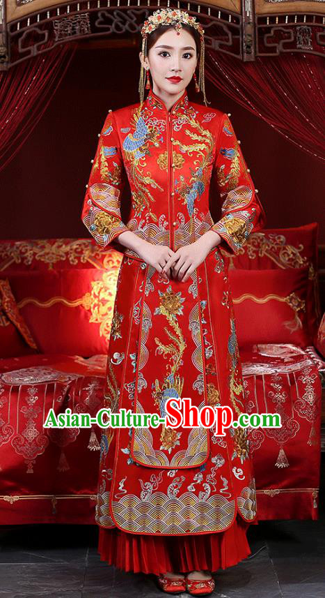 Chinese Ancient Wedding Costume Bride Dress, China Traditional Delicate Embroidered Phoenix Toast Clothing Xiuhe Suits for Women