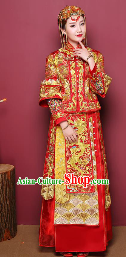 Chinese Ancient Wedding Costume Bride Dress, China Traditional Delicate Embroidered Dragon Phoenix Toast Clothing Xiuhe Suits for Women