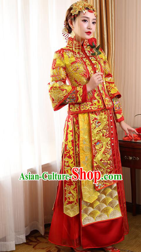 Chinese Ancient Wedding Costume Bride Red Toast Clothing, China Traditional Delicate Embroidered Dress Xiuhe Suits for Women