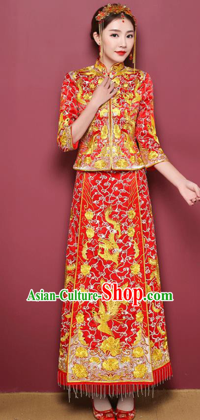 Chinese Ancient Wedding Costume Bride Toast Cheongsam Clothing, China Traditional Delicate Embroidered Xiuhe Suits for Women