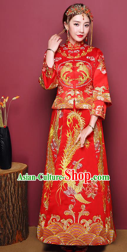 Chinese Traditional Wedding Costume, China Ancient Bride Embroidered Phoenix Peony Xiuhe Suit Clothing for Women
