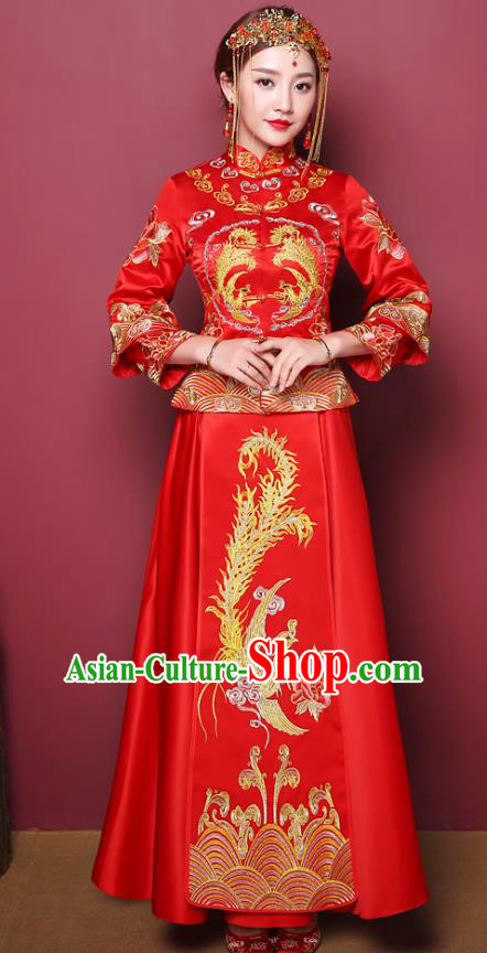 Chinese Traditional Wedding Costume, China Ancient Bride Embroidered Phoenix Xiuhe Suit Clothing for Women