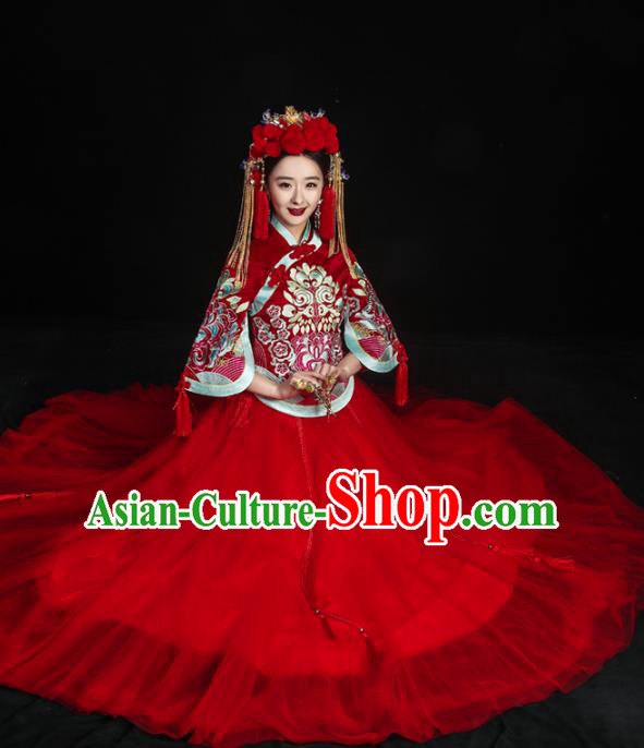 Chinese Traditional Xiuhe Suits Ancient Bride Red Bottom Drawer Wedding Costumes for Women