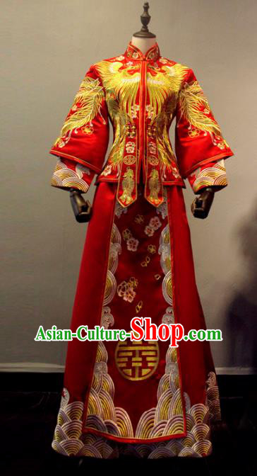 Chinese Traditional Toast Xiuhe Suits Ancient Bride Embroidered Peony Red Bottom Drawer Wedding Costumes for Women