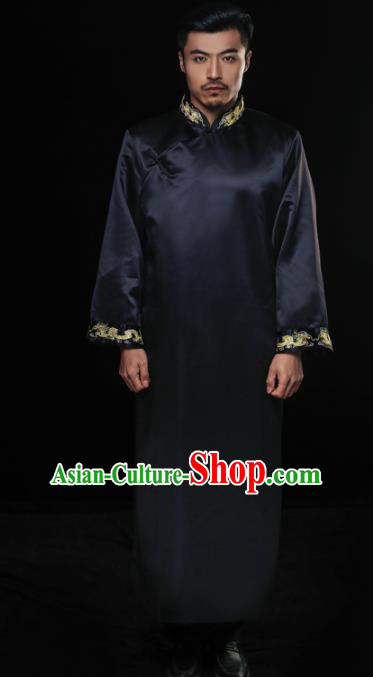 Chinese Traditional Wedding Costume China Ancient Bridegroom Tang Suit Black Gown for Men