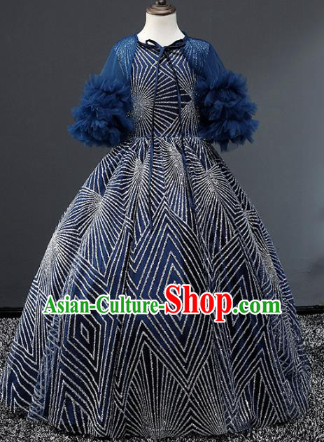 Children Stage Performance Costumes Blue Evening Dresses Modern Fancywork Bubble Full Dress for Kids
