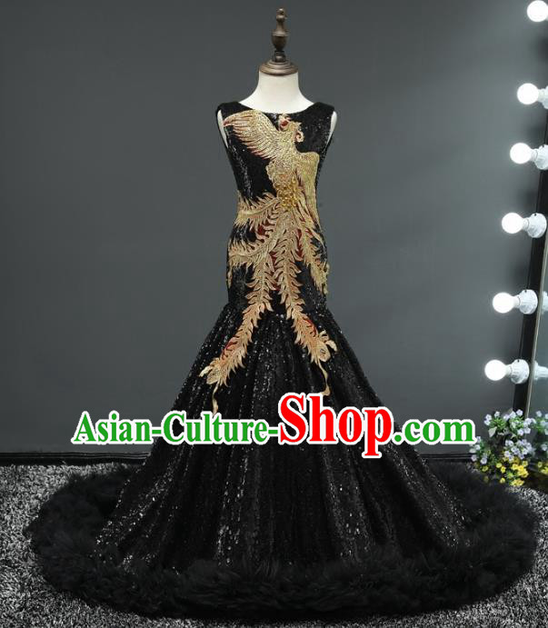 Children Stage Performance Costumes Embroidered Phoenix Black Evening Dresses Modern Fancywork Full Dress for Kids
