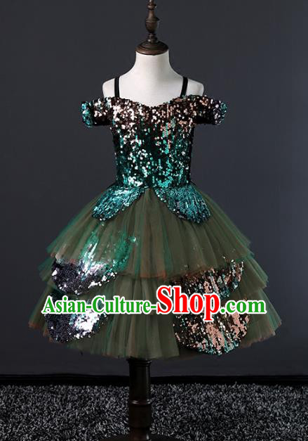 Children Stage Performance Costumes Green Bubble Evening Dresses Modern Fancywork Full Dress for Kids