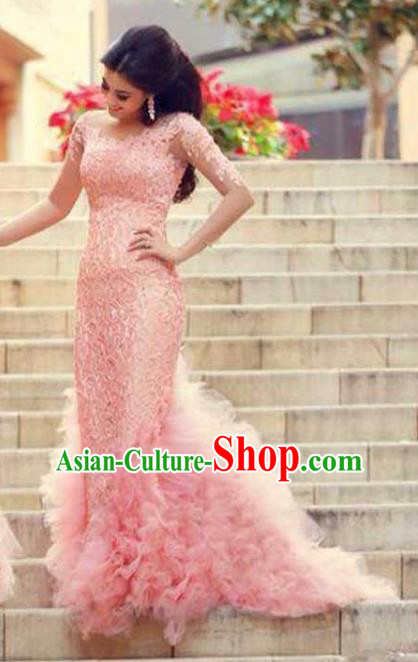 Top Grade Stage Performance Costumes Pink Trailing Evening Dresses Modern Fancywork Full Dress for Women