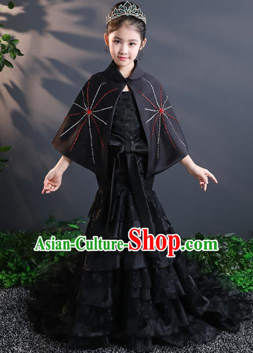 Top Grade Stage Performance Costumes Black Lace Mermaid Dress Modern Fancywork Full Dress for Kids