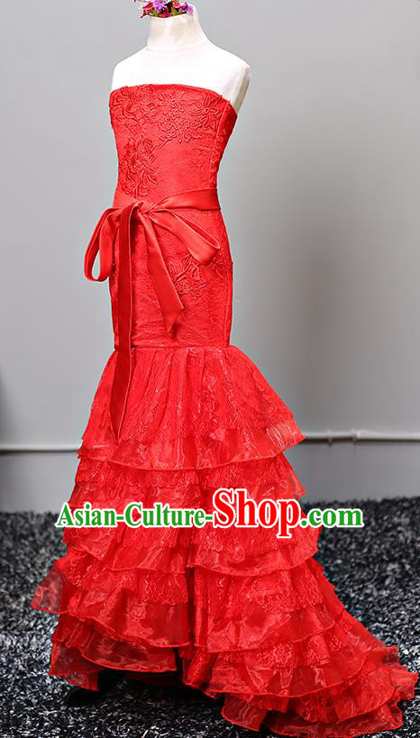Top Grade Stage Performance Costumes Red Lace Mermaid Dress Modern Fancywork Full Dress for Kids