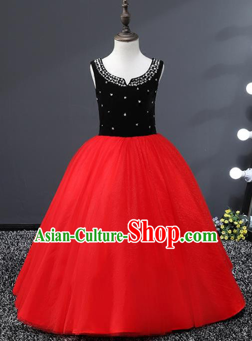 Top Grade Stage Performance Costumes Red Veil Bubble Dress Modern Fancywork Full Dress for Kids