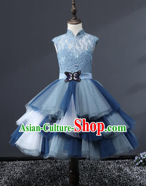 Top Grade Stage Performance Costumes Blue Veil Bubble Dress Modern Fancywork Full Dress for Kids