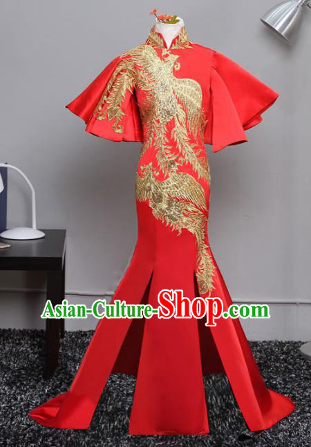 Top Grade Stage Performance Costumes Compere Red Cheongsam Modern Fancywork Full Dress for Kids