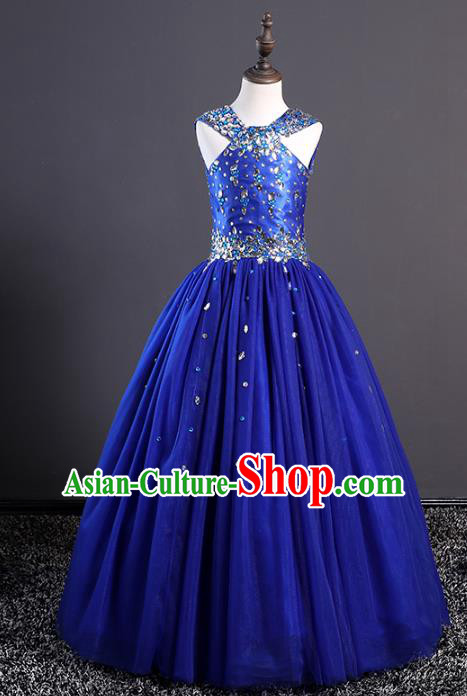 Top Grade Stage Performance Costumes Compere Blue Dress Modern Fancywork Full Dress for Kids