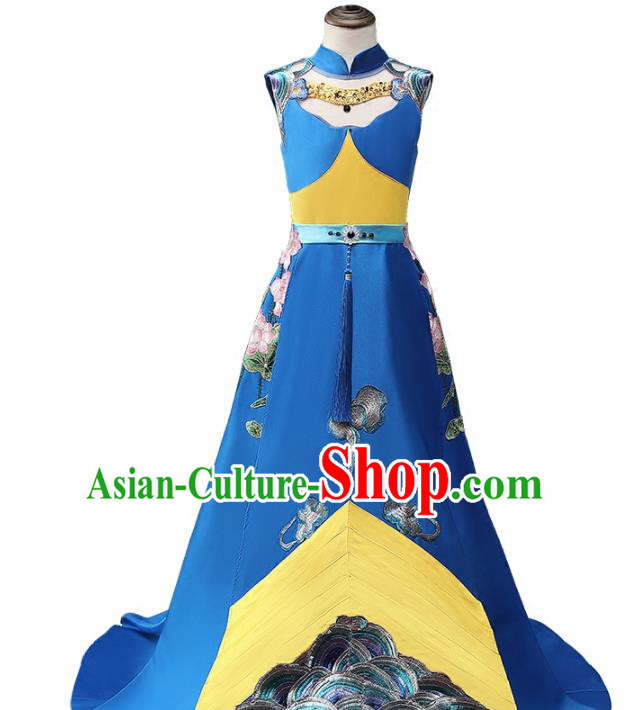 Top Grade Stage Performance Costumes Compere Blue Trailing Cheongsam Modern Fancywork Full Dress for Kids