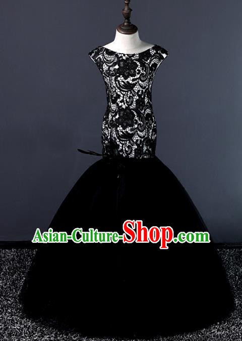 Top Grade Stage Performance Costumes Compere Black Lace Mermaid Dress Modern Fancywork Full Dress for Kids