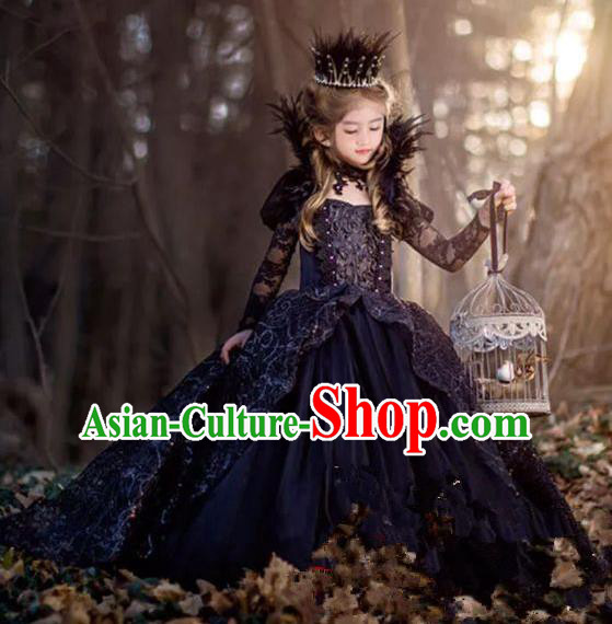 Top Grade Stage Performance Costumes Baroque Princess Bubble Dress Modern Fancywork Full Dress for Kids